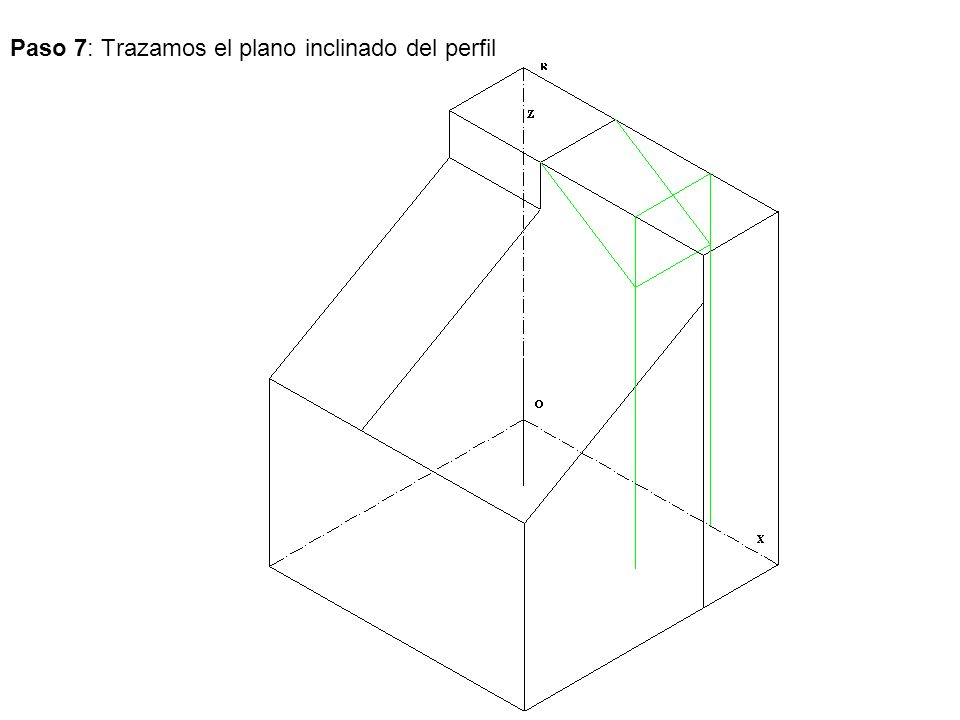 Paso 7: Trazamos el plano inclinado del perfil
