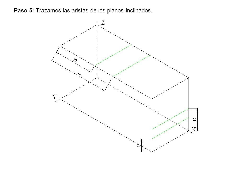 Paso 5: Trazamos las aristas de los planos inclinados.