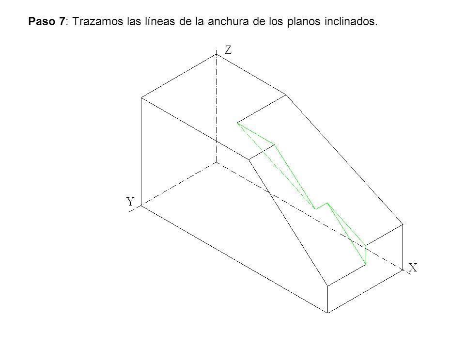 Paso 7: Trazamos las líneas de la anchura de los planos inclinados.