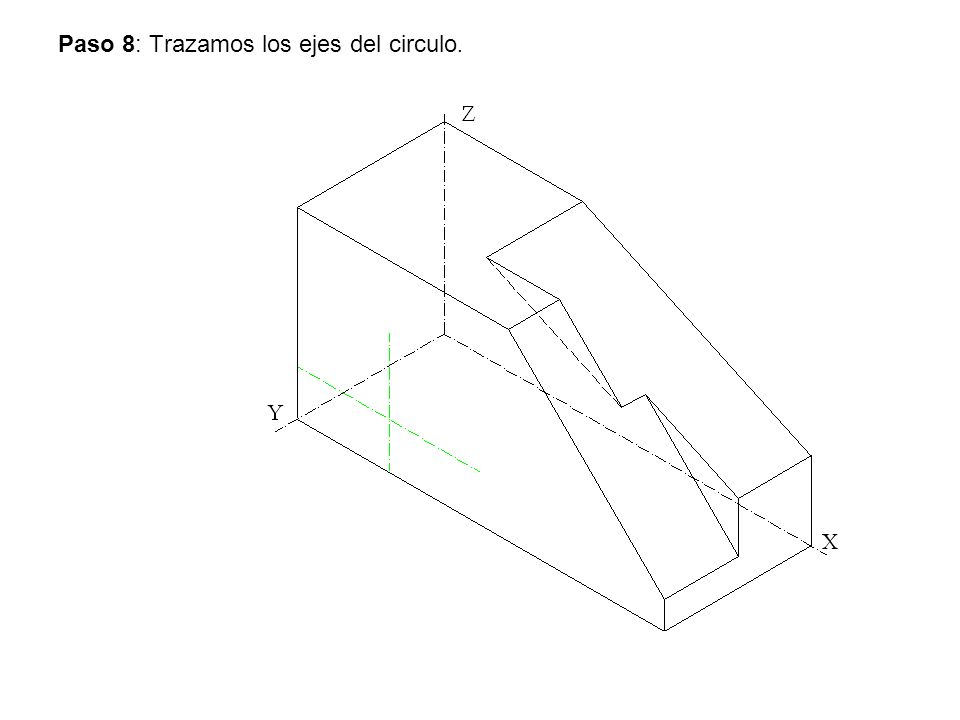 Paso 8: Trazamos los ejes del circulo.