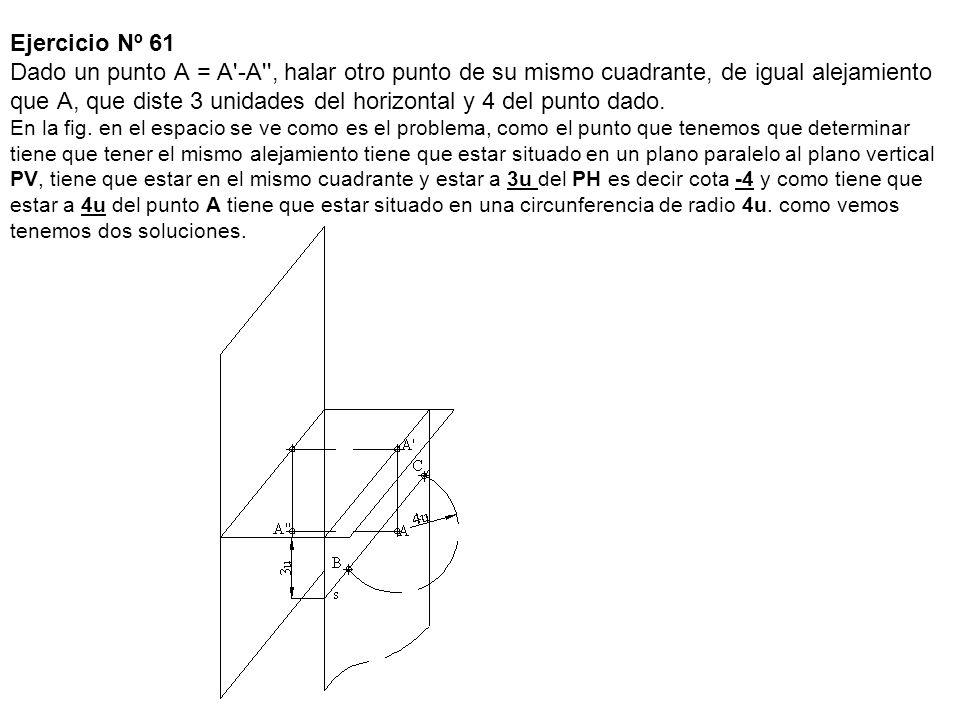 Ejercicio Nº 61 Dado un punto A = A -A , halar otro punto de su mismo cuadrante, de igual alejamiento que A, que diste 3 unidades del horizontal y 4 del punto dado.
