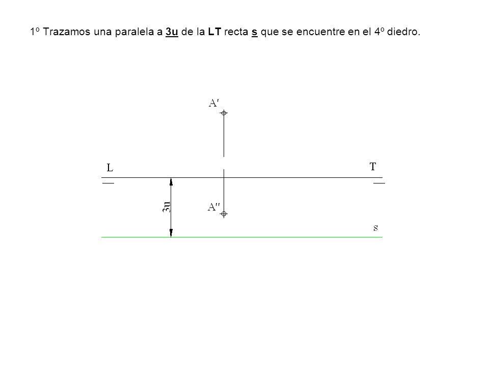 1º Trazamos una paralela a 3u de la LT recta s que se encuentre en el 4º diedro.