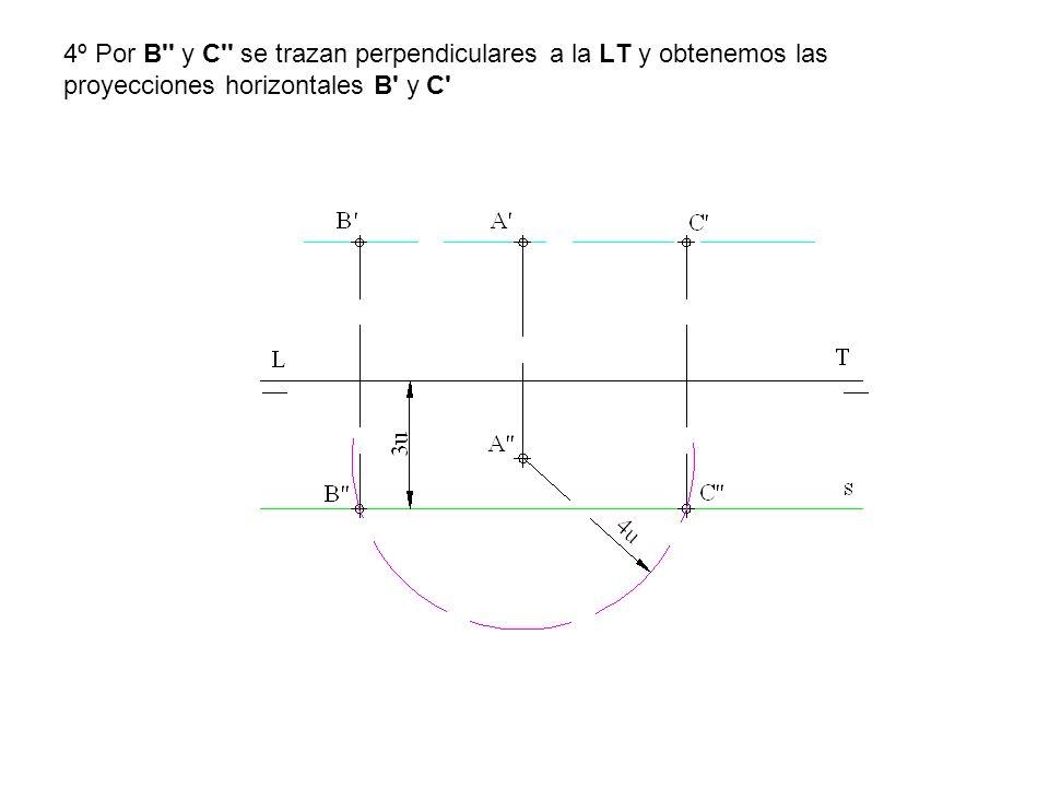 4º Por B y C se trazan perpendiculares a la LT y obtenemos las proyecciones horizontales B y C