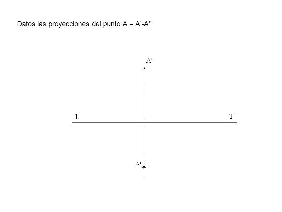 Datos las proyecciones del punto A = A'-A''