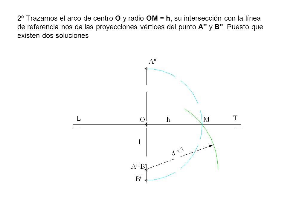 2º Trazamos el arco de centro O y radio OM = h, su intersección con la línea de referencia nos da las proyecciones vértices del punto A y B .