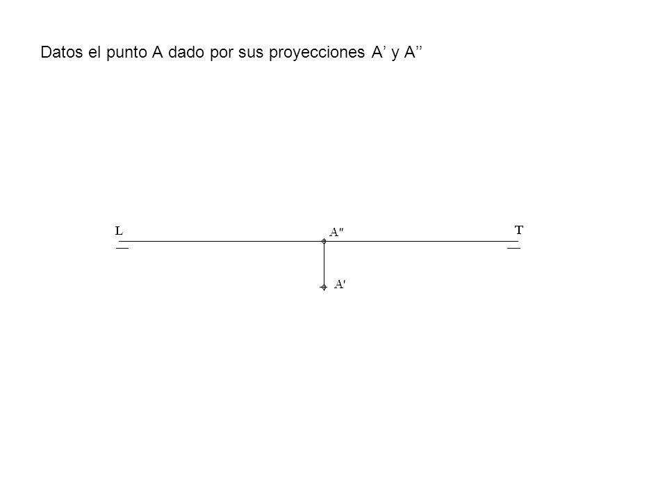 Datos el punto A dado por sus proyecciones A' y A''