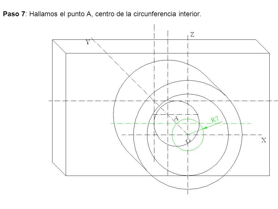 Paso 7: Hallamos el punto A, centro de la circunferencia interior.