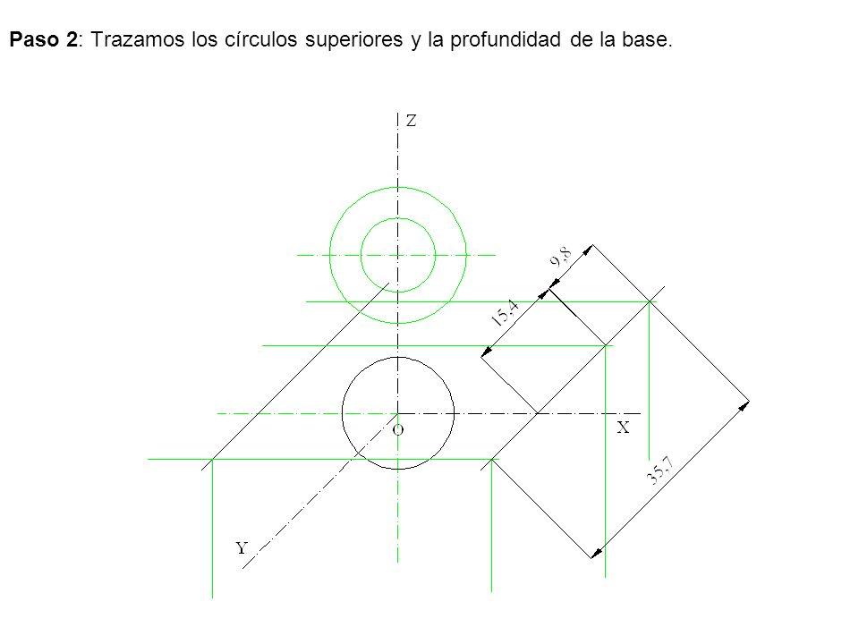 Paso 2: Trazamos los círculos superiores y la profundidad de la base.