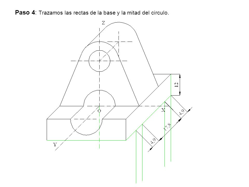 Paso 4: Trazamos las rectas de la base y la mitad del circulo.