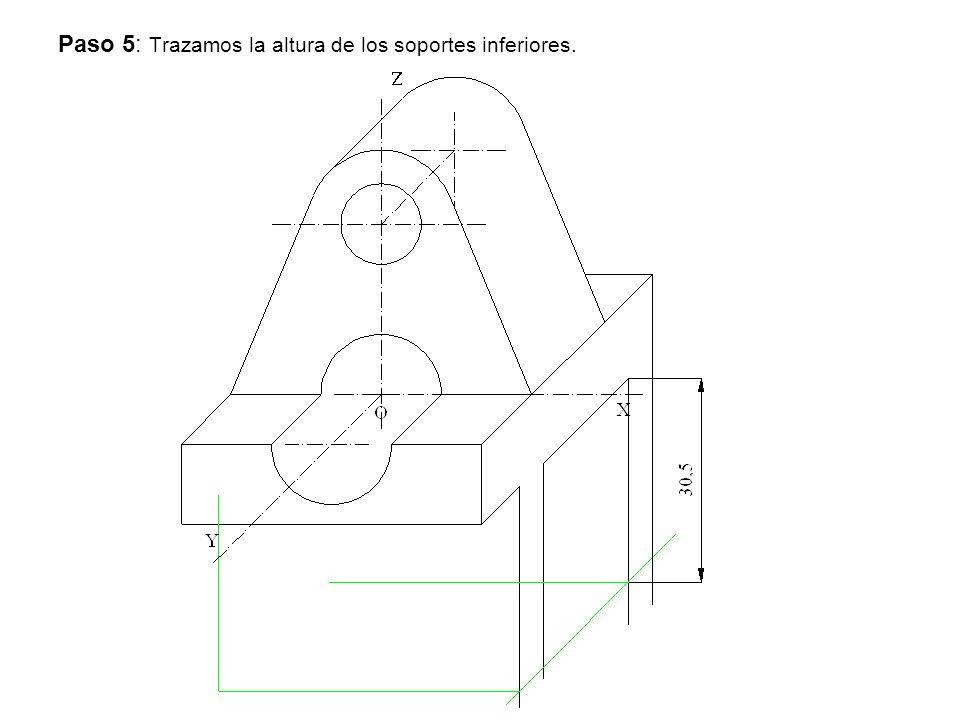 Paso 5: Trazamos la altura de los soportes inferiores.
