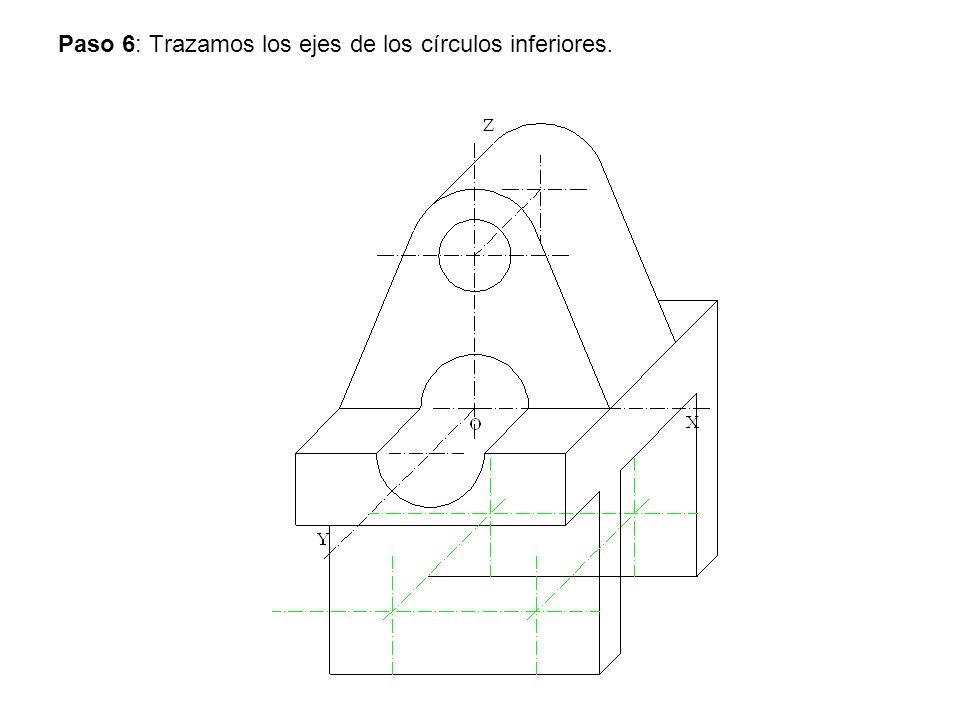 Paso 6: Trazamos los ejes de los círculos inferiores.