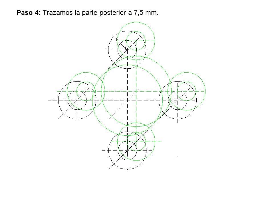 Paso 4: Trazamos la parte posterior a 7,5 mm.