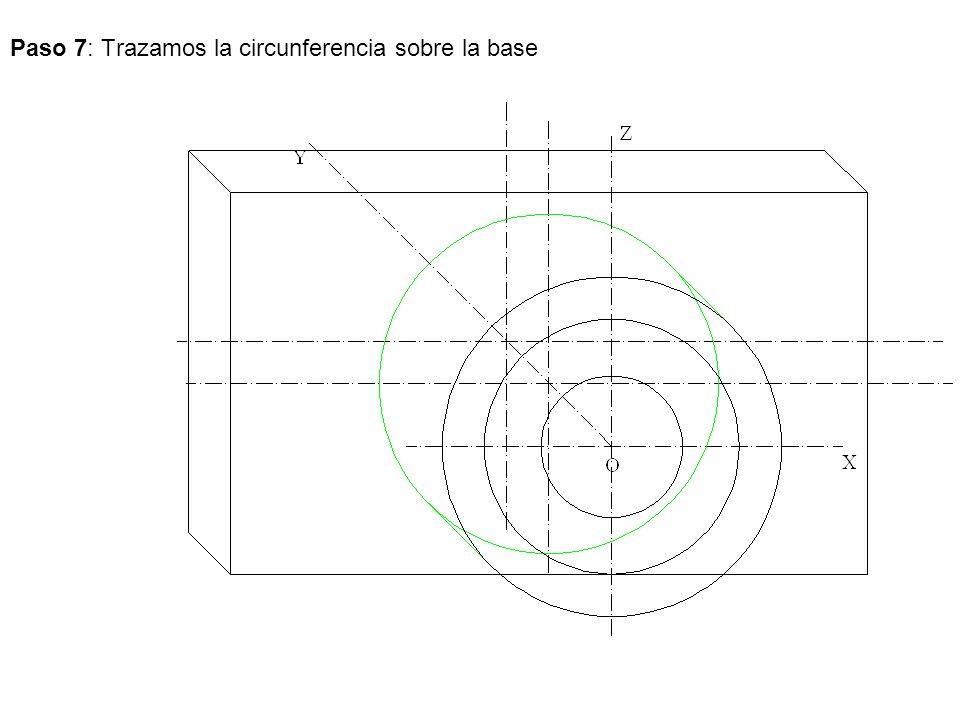 Paso 7: Trazamos la circunferencia sobre la base