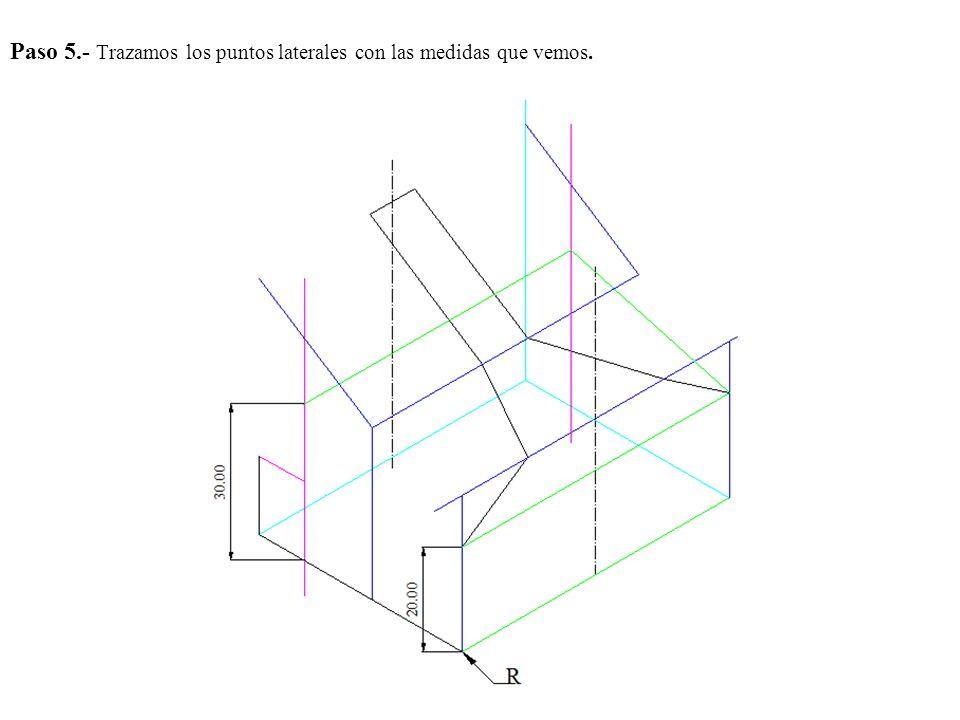 Paso 5.- Trazamos los puntos laterales con las medidas que vemos.