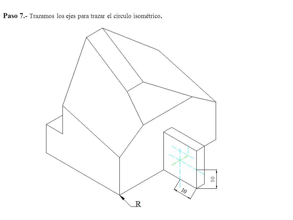 Paso 7.- Trazamos los ejes para trazar el circulo isométrico.