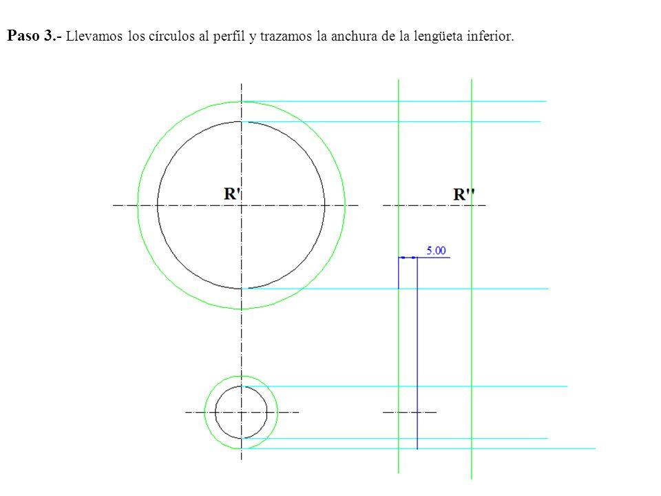 Paso 3.- Llevamos los círculos al perfil y trazamos la anchura de la lengüeta inferior.