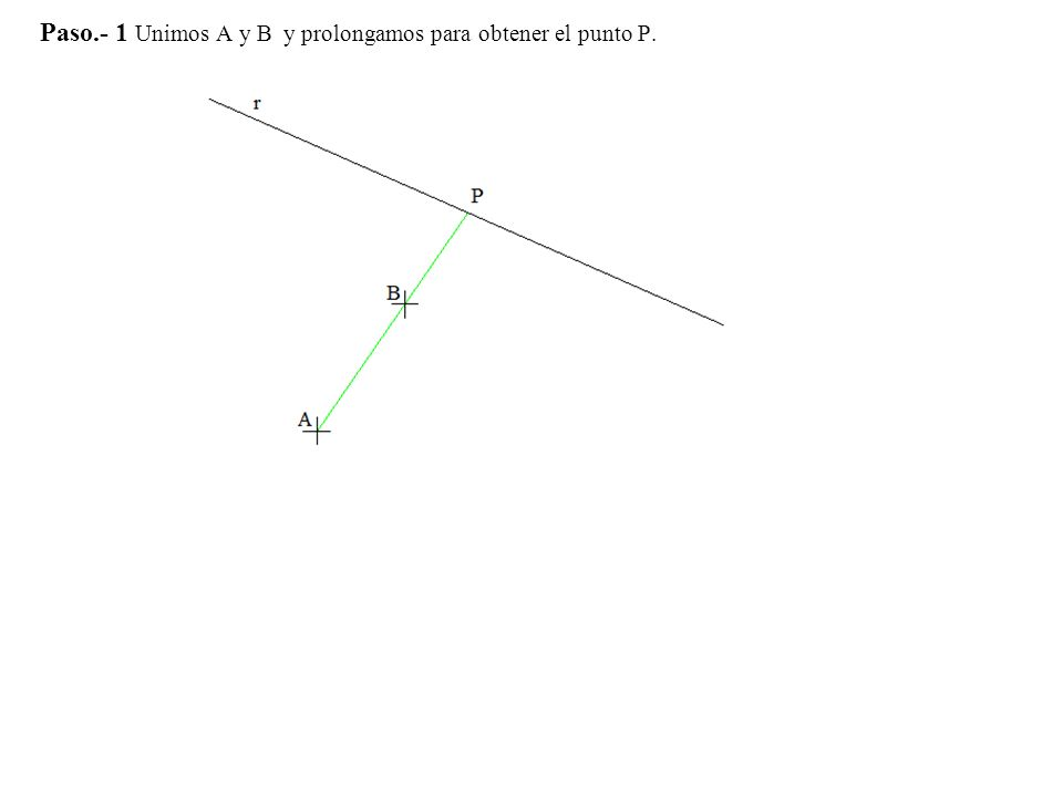 Paso.- 1 Unimos A y B y prolongamos para obtener el punto P.