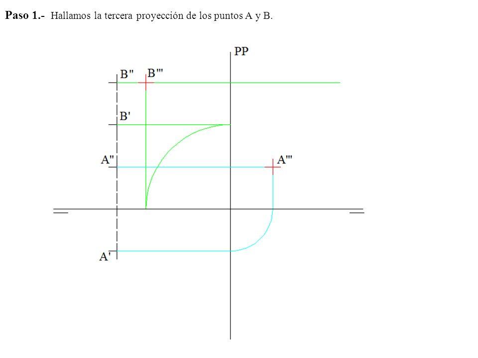Paso 1.- Hallamos la tercera proyección de los puntos A y B.