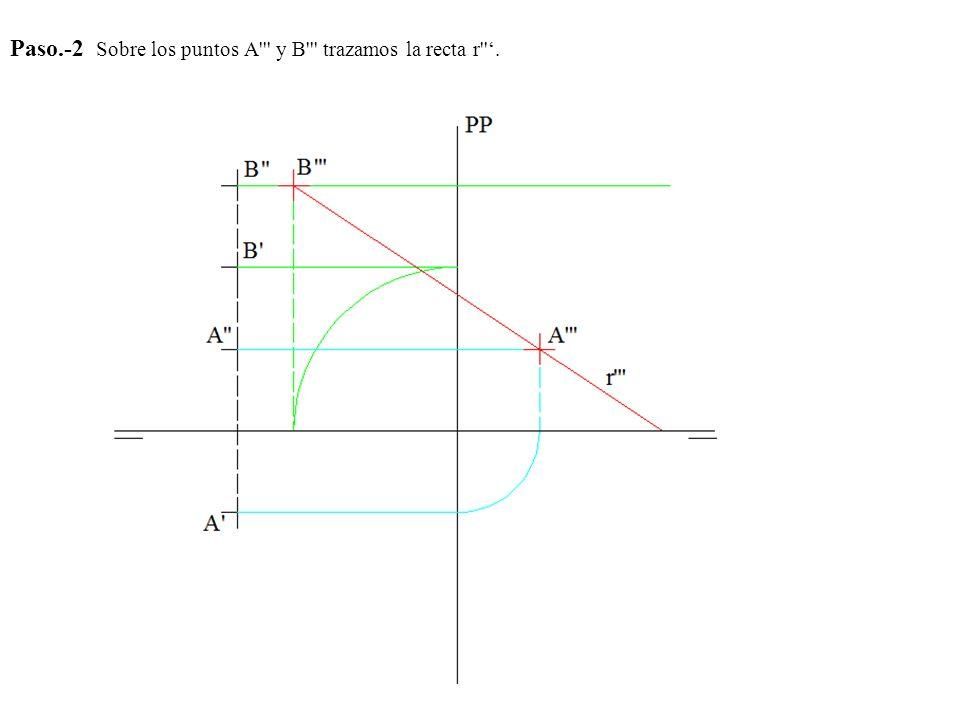 Paso.-2 Sobre los puntos A y B trazamos la recta r '.