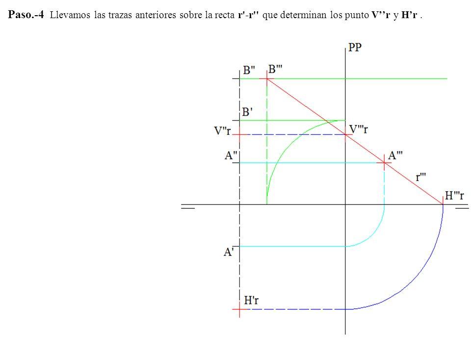 Paso.-4 Llevamos las trazas anteriores sobre la recta r -r que determinan los punto V''r y H'r .