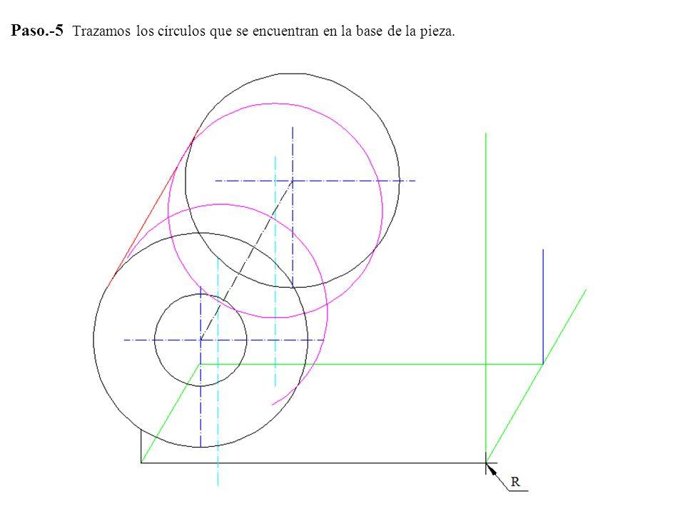 Paso.-5 Trazamos los círculos que se encuentran en la base de la pieza.