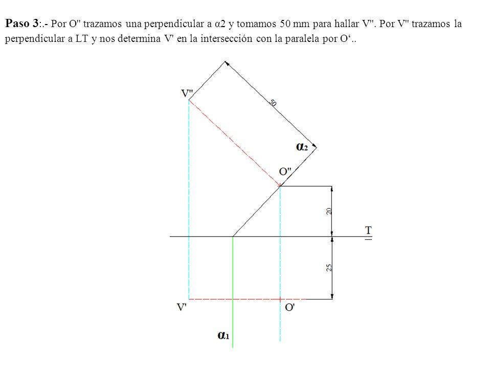 Paso 3:.- Por O trazamos una perpendicular a α2 y tomamos 50 mm para hallar V .