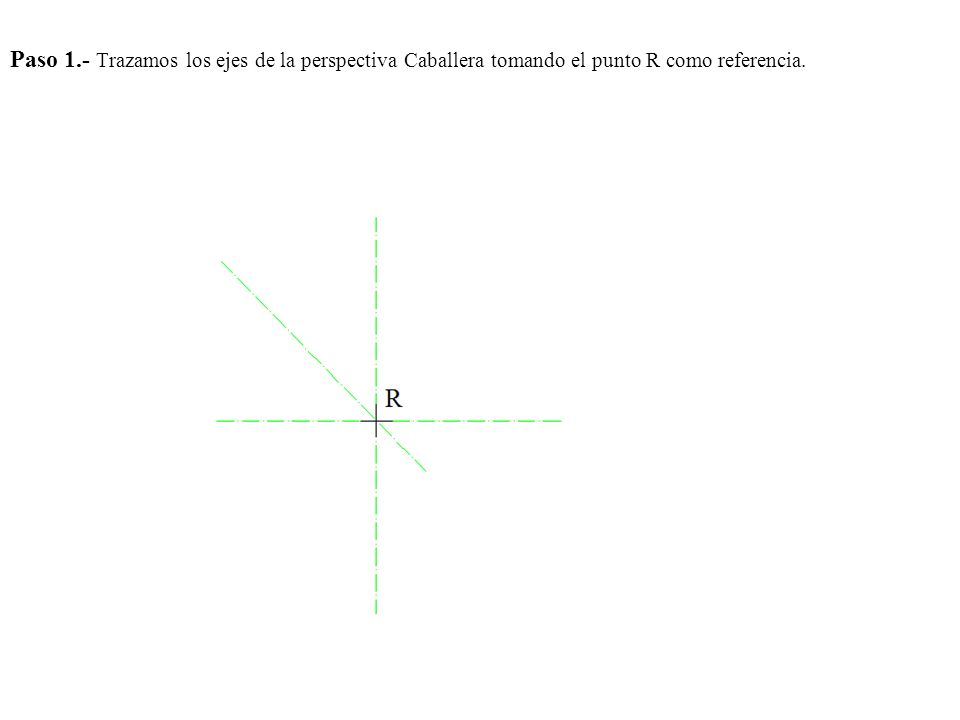 Paso 1.- Trazamos los ejes de la perspectiva Caballera tomando el punto R como referencia.