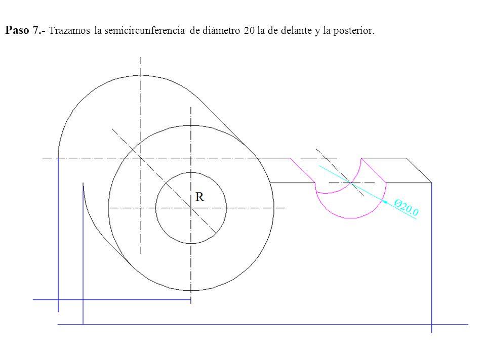 Paso 7.- Trazamos la semicircunferencia de diámetro 20 la de delante y la posterior.