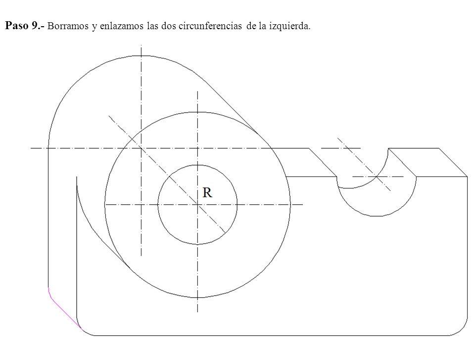 Paso 9.- Borramos y enlazamos las dos circunferencias de la izquierda.
