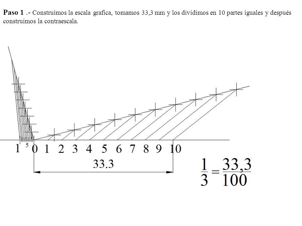 Paso 1 .- Construimos la escala grafica, tomamos 33,3 mm y los dividimos en 10 partes iguales y después construimos la contraescala.