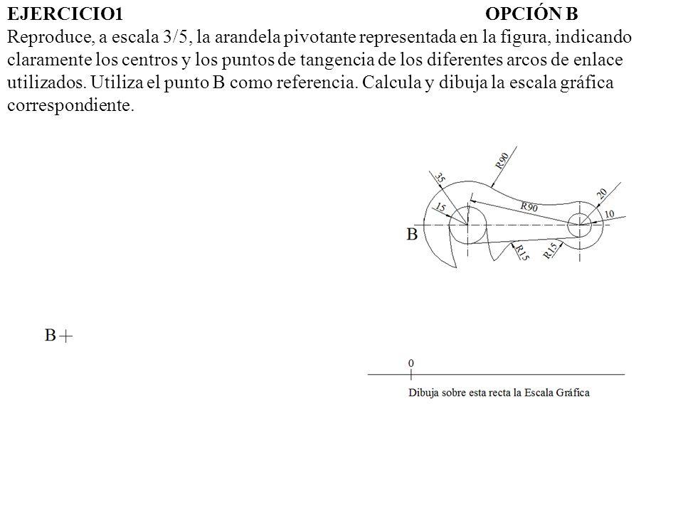 EJERCICIO1 OPCIÓN B Reproduce, a escala 3/5, la arandela pivotante representada en la figura, indicando claramente los centros y los puntos de tangencia de los diferentes arcos de enlace utilizados.