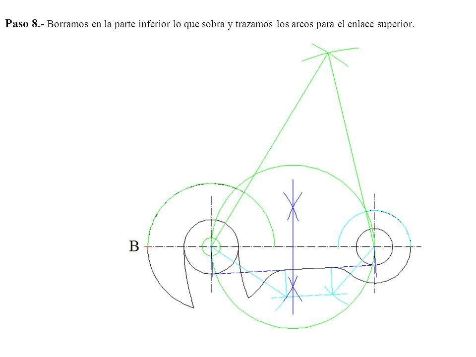 Paso 8.- Borramos en la parte inferior lo que sobra y trazamos los arcos para el enlace superior.