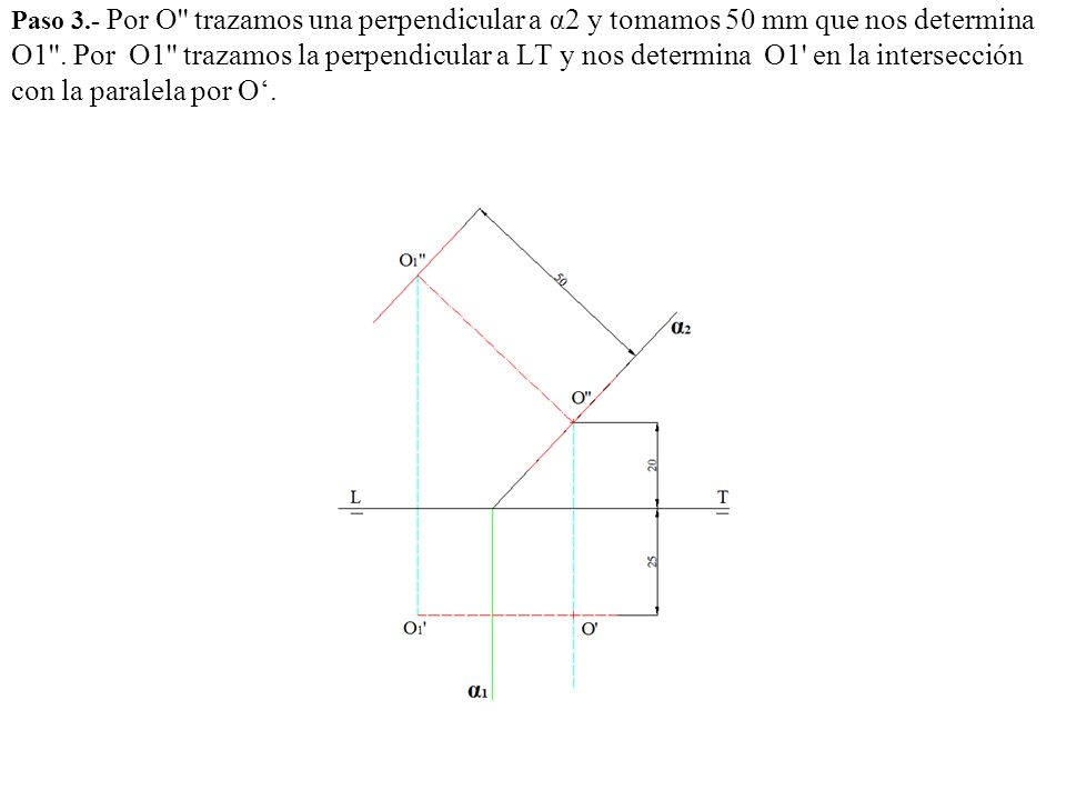 Paso 3.- Por O trazamos una perpendicular a α2 y tomamos 50 mm que nos determina O1 .
