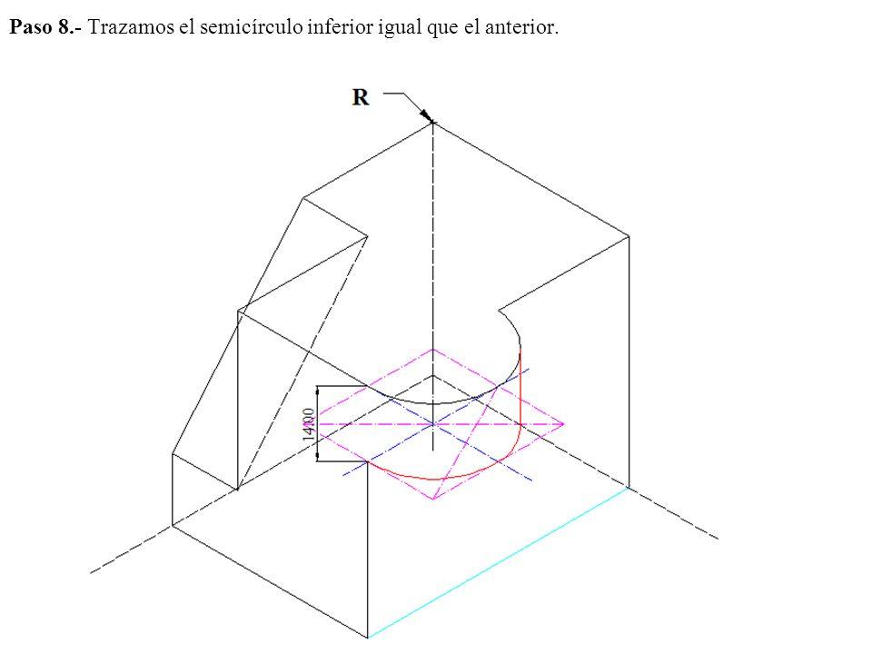 Paso 8.- Trazamos el semicírculo inferior igual que el anterior.