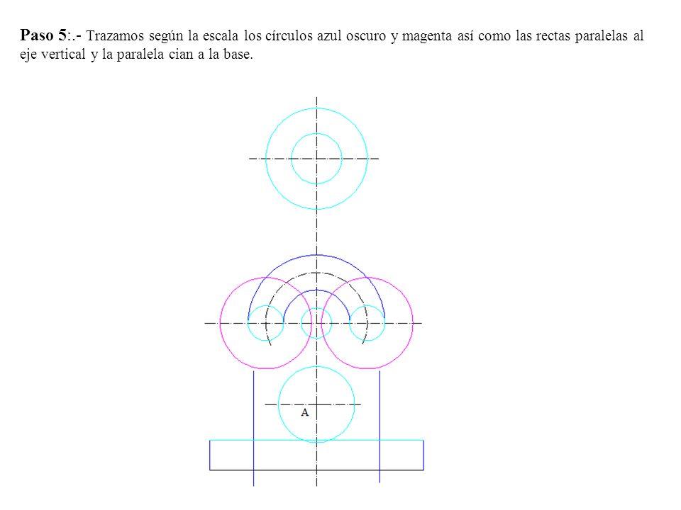 Paso 5:.- Trazamos según la escala los círculos azul oscuro y magenta así como las rectas paralelas al eje vertical y la paralela cian a la base.