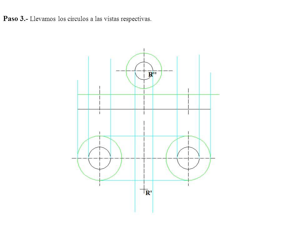 Paso 3.- Llevamos los círculos a las vistas respectivas.