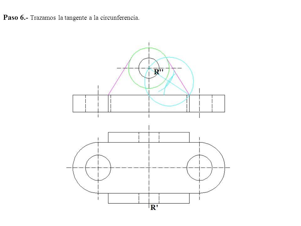 Paso 6.- Trazamos la tangente a la circunferencia.