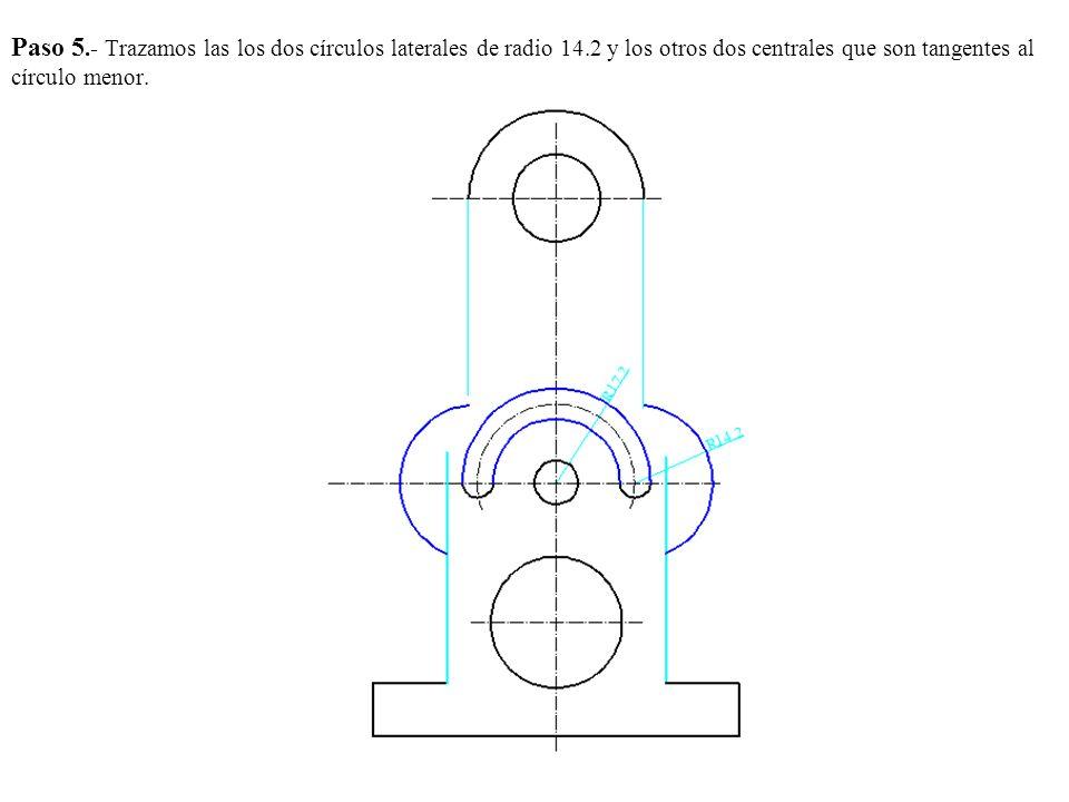 Paso 5. - Trazamos las los dos círculos laterales de radio 14