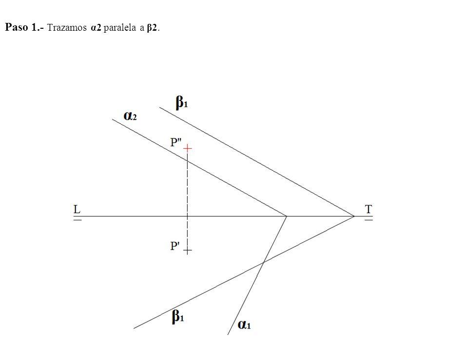 Paso 1.- Trazamos α2 paralela a β2.