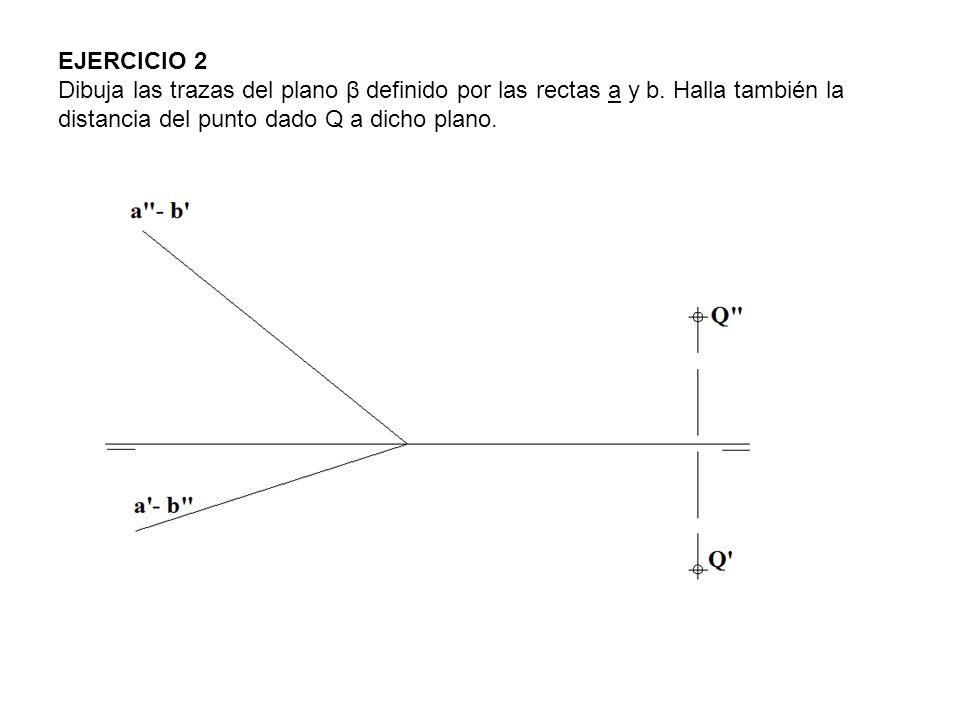 EJERCICIO 2 Dibuja las trazas del plano β definido por las rectas a y b.