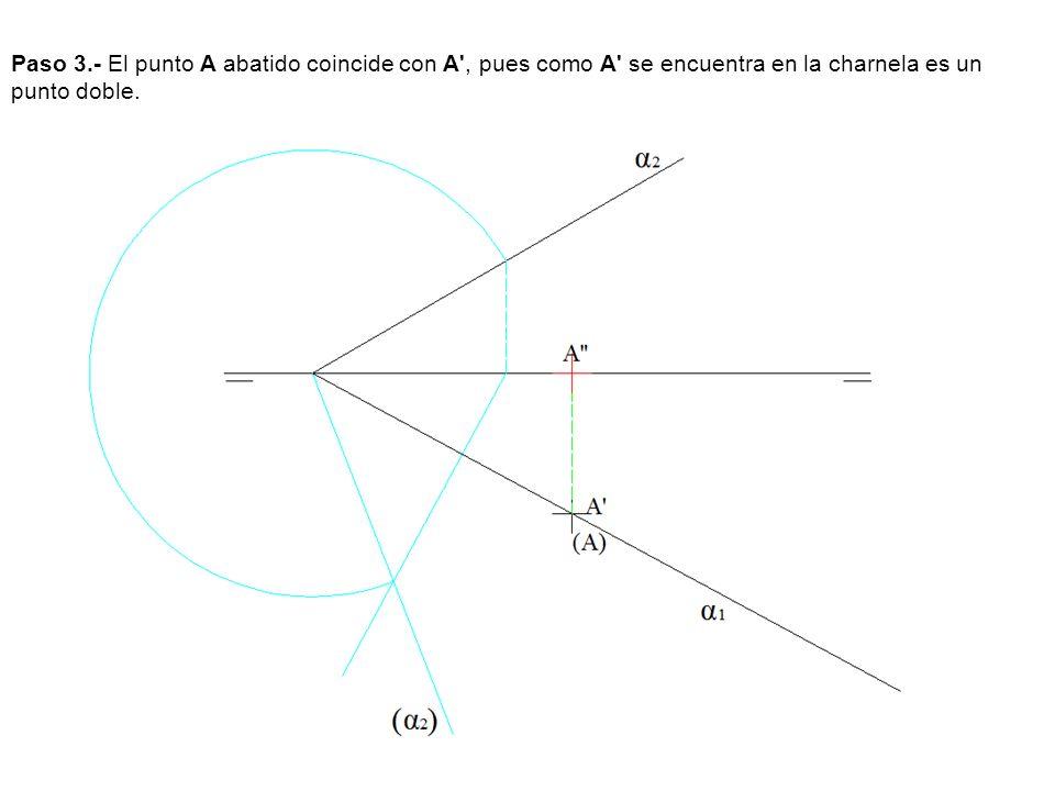Paso 3.- El punto A abatido coincide con A , pues como A se encuentra en la charnela es un punto doble.