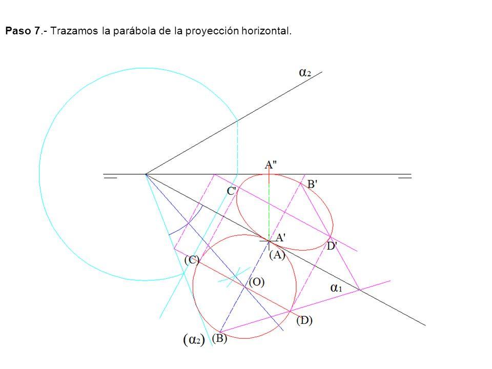 Paso 7.- Trazamos la parábola de la proyección horizontal.