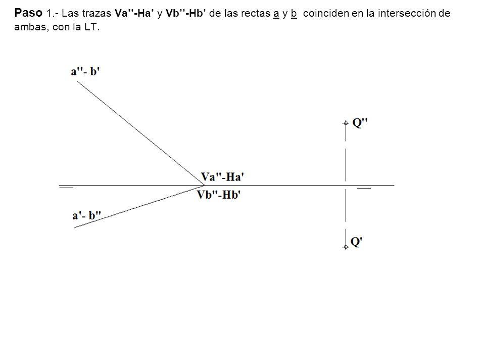 Paso 1.- Las trazas Va''-Ha' y Vb''-Hb' de las rectas a y b coinciden en la intersección de ambas, con la LT.