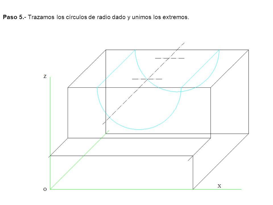 Paso 5.- Trazamos los círculos de radio dado y unimos los extremos.