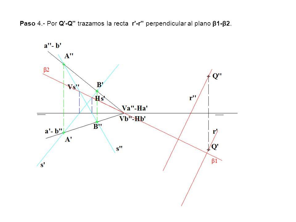 Paso 4.- Por Q -Q trazamos la recta r -r perpendicular al plano β1-β2.