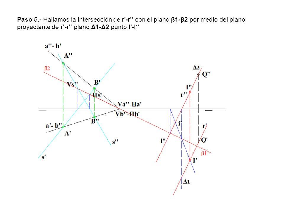 Paso 5.- Hallamos la intersección de r -r con el plano β1-β2 por medio del plano proyectante de r -r plano Δ1-Δ2 punto I -I''