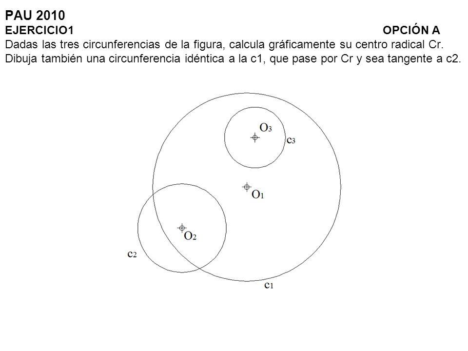PAU 2010 EJERCICIO1 OPCIÓN A Dadas las tres circunferencias de la figura, calcula gráficamente su centro radical Cr.