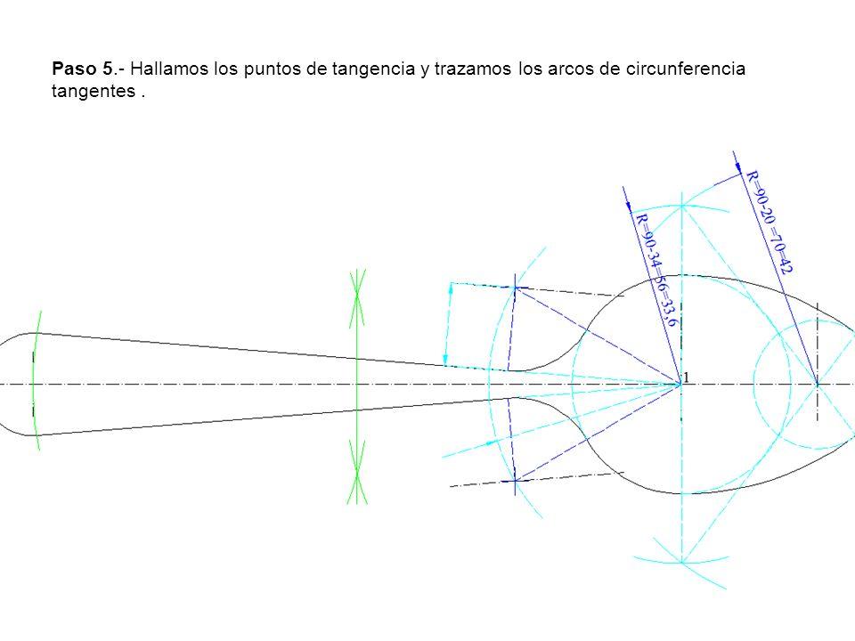 Paso 5.- Hallamos los puntos de tangencia y trazamos los arcos de circunferencia tangentes .