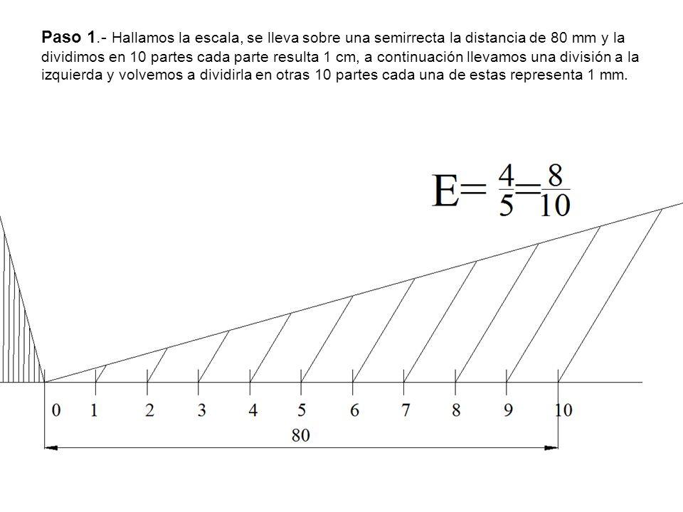 Paso 1.- Hallamos la escala, se lleva sobre una semirrecta la distancia de 80 mm y la dividimos en 10 partes cada parte resulta 1 cm, a continuación llevamos una división a la izquierda y volvemos a dividirla en otras 10 partes cada una de estas representa 1 mm.