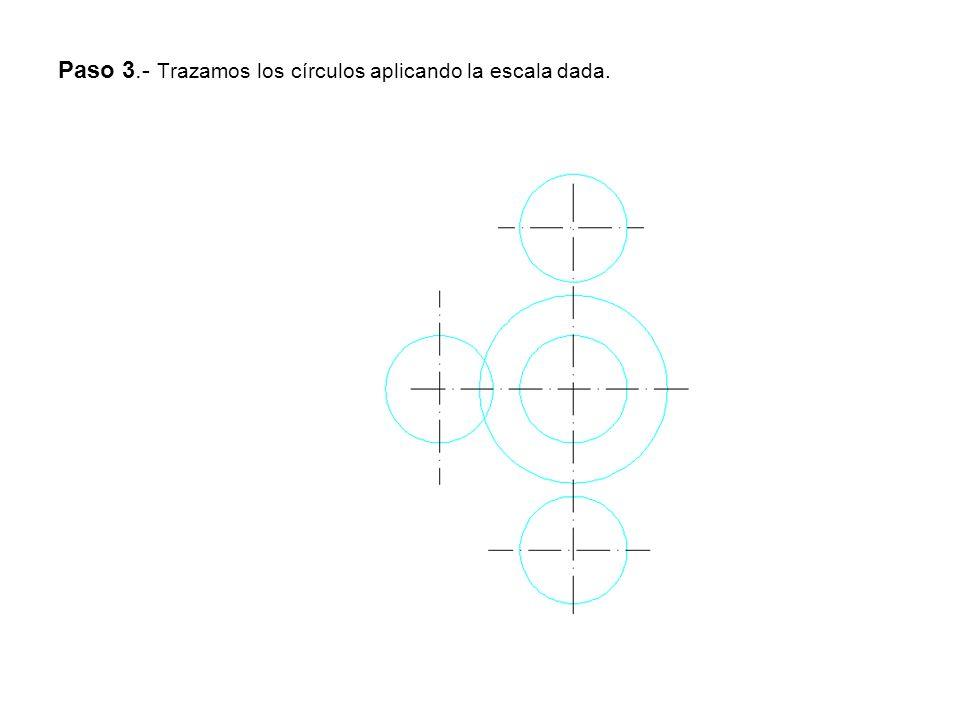 Paso 3.- Trazamos los círculos aplicando la escala dada.